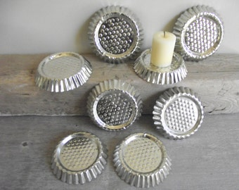 French Tart Tins , Set of 8 Vintage Fluted Tartlet Pans , Farmhouse Candle Holders , Vintage Crafts Supplies , Storage Organization