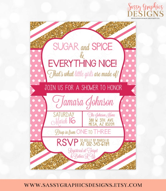 Sugar And Spice Baby Shower Invitation Gold Glitter Pink Polka Dots