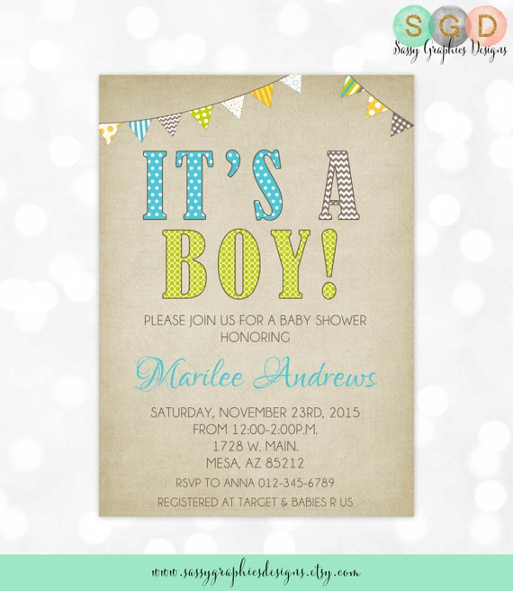 Boy Baby Shower Invitation Rustic Kraft Paper Pennant Banner Boy