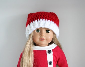 Doll Santa Hat, Santa hat for dolls, crochet Christmas hat for 18 inch dolls, 18 inch doll wig, doll accessories, doll clothes