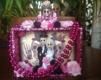 Day of the Dead Wedding Nicho/Shrine/Cake Topper/Altar Piece.
