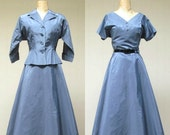 ON SALE Vintage 1950s New Look Cocktail Suit / 50s Cadet Blue Taffeta Dress and Matching Jacket / Medium