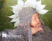 061c Mohawk Baby boy newborn size white and grey earflap punk hat. Great for photo prop. Black Spikes available.