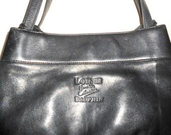 Vintage 1990s LOISIR DAUPHIN black leather medium-sized shoulder bag