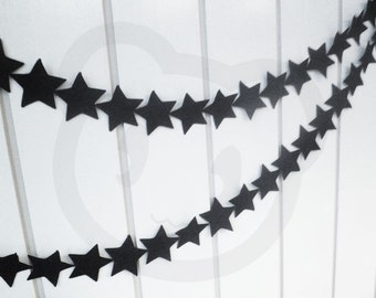 Modern baby nursery star garland - made with black wool blend felt star shapes