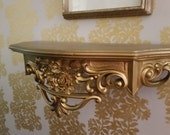 Shop closing sale vintage gold plastic Homco decorative shelf