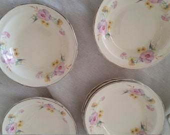 Shop closing sale Vintage Knowles Made in USA pansy fruit bowls