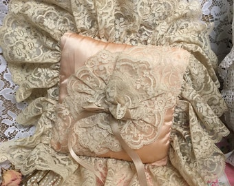 Vintage Lace & Satin Ring Bearers Pillow~Deep Lace~Shabbychic Romantic