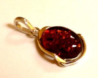Baltic Amber Pendant Cognac Natural 1.7″ 8.3 gram 925 Silver