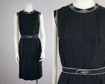 60s Vintage Black Silk Floral Embroidered Sleeveless Midi Dress (S)