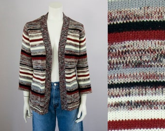 70s Vintage Space Dyed Knit Striped Cardigan (S, M)