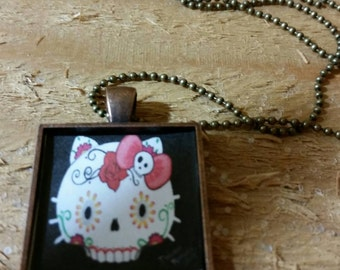Day of the Dead, goodbye kitty, glass pendant necklace