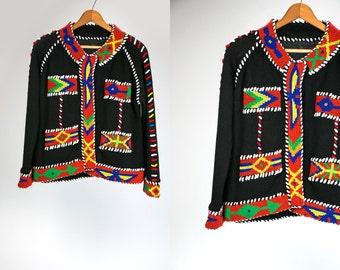 Vintage Hand Beaded Black Sweater with Southwestern Indian Design Native Vtg Retro Hippie Boho Women's Medium High Fashion Ethnic