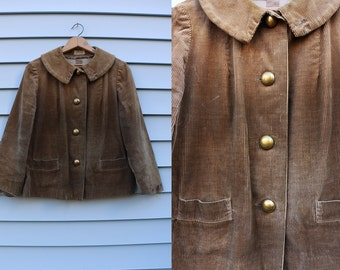 Vintage Vtg Vg 1960's 60's Corduroy Button Up Distressed Jacket Women's Preppy Bohemian Cropped Long Sleeved Rustic Alice of California