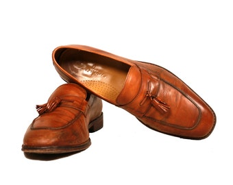 Vintage VTG VG 1970's 70's 1980's 80's Cole Haan Brown Leather Loafers Men's Hipster Preppy Size 9 1/2 M Shoes Slip Ons Retro