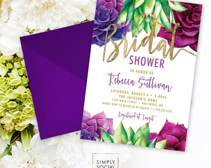 Succulents Bridal Shower Invitation - Purple and Green Succulent and Faux Gold Foil Watercolor Floral Boho Shower Invitation Printable