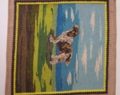 Spaniel Needlepoint - Unframed Needlework Dog Art - Ready to Frame or Use for Small Pillow or Child Chair Seat Cover