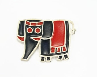 Vintage Elephant Brooch, Red White Blue, GOP Brooch, Enamel Brooch, 1960s Jewelry, Vintage GOP, Mod Elephant, African Style, Brooch, Pin