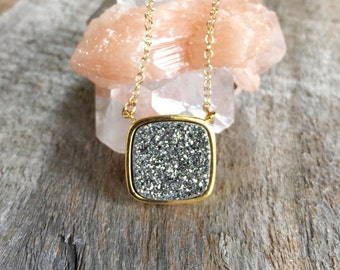 Silver Druzy Necklace, Drusy Necklace, Druzy Quartz Jewelry, Gemstone Necklace, Layered Necklace, Raw Stone Necklace