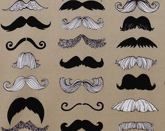 Sale - Alexander Henry - Where's my Stache - Taupe Cotton Quilting Fabric - BTY