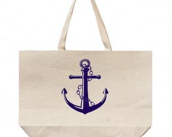 Canvas Beach Bag, Large Beach Tote, Wedding Welcome Bags, Anchor