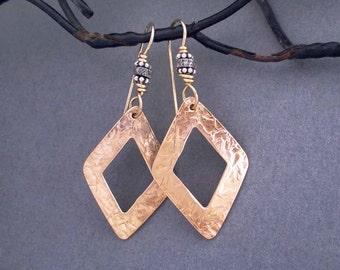 Hammered Bronze Earrings with Pave Diamonds 8th Anniversary Gift Genuine Diamond Jewelry Bronze Anniversary Jewelry Artisan Handmade