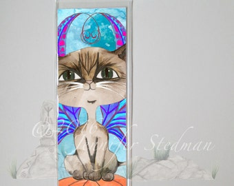 Siamese cat, Frixie, Frisky Feline pixie, Fantasy art bookmark, big eyes, cat lover gift