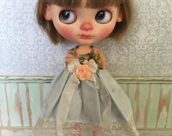 Blythe Dress - Blue with Apricot