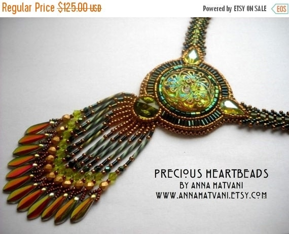 20 Off Autumn Sale Bead Embroidery Necklace Green Gold