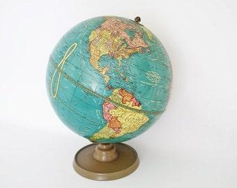 "Vintage World Globe - 1948 Crams Terrestrial - 10.5"""