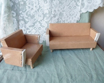 "Vintage 1940's Mid Century Hand Crafted Upholstered Vinyl SOFA & CHAIR Furniture for 15""-16"" doll"