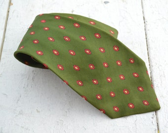 1950s Green Silk Printed Necktie