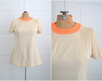1960s Beige and Peach Tunic