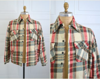 1970s Crownley Plaid Flannel Shirt Jacket