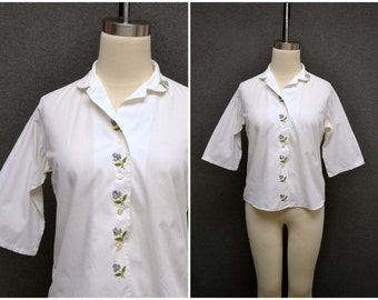1960s Shapely Purple Rose Embroidered Blouse