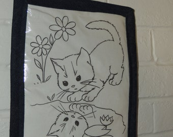 PROTOTYPE Dry Erase washable crayon framed Curious Kitten COLORING PAGE cats boy girl denim wall hanging book