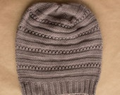 Knit Merino Wool Ladies Hat - Slouchy Taupe - Ready to ship