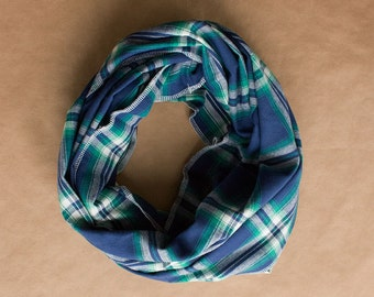 CLEARANCE!! Cotton Infinity Scarf - Blue White Green Plaid - Brushed woven cotton flannel - ready to ship