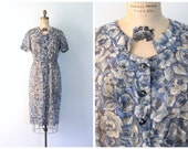 1940s sheer cotton voile day dress - short sleeve floral print dress / 40s blue rose print dress / 50s sheer day dress - mid century dress