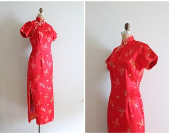 lipstick red satin brocade cheongsam - pin up wiggle dress / Solz Squirrel - vintage Chinese red satin dress / red bombshell dress