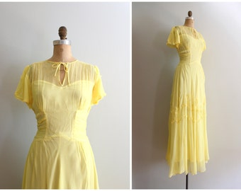pale yellow 1940s party dress - vintage 40s gown / Belle dress - Beauty and the Beast costume  / pastel princess dress - bridesmaid dress
