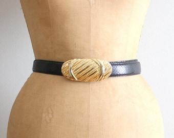 20% SALE vintage 80s black snakeskin belt - ladies dress belt / Leather Shop - 80s snakeskin belt with gold buckle / vintage leather belt