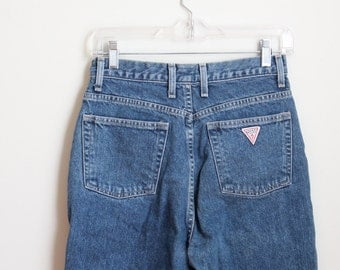 vintage 1980s Guess jeans - 80s high waisted jeans / 80s designer jeans - Guess Jeans logo denim / vintage denim cutoffs - ladies 29