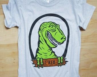 T Rex Dinosaur Youth Kids Unisex Cotton T-Shirt Heather Gray Girls Boys Back to School Paleontology Apparel Screenprint