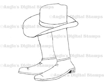 Cowboy Hat With Boots Digital Stamp Image