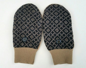 Warm Wool mittens for young teens or petite women. Brown and camel colors. Fleece lining.