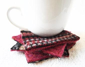 Wool Coasters Fair Isle Sweater Wool RED, BLACK & TAN Coasters Recycled Mug Rugs Felted Wool Ecofriendly Housewarming Gift by WormeWoole