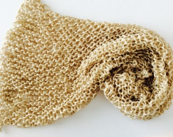 """READY TO SHIP Chunky Knit Baby Blanket, Champagne Gold, photo prop blanket, size 32"""" x 32"""""""