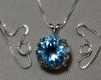"""Blue Topaz Necklace, Round Cut 10.87 Carat Swiss Blue Topaz Pendant Appraised At 550.00 18"""" Sterling Silver Chain, December Birthstone"""