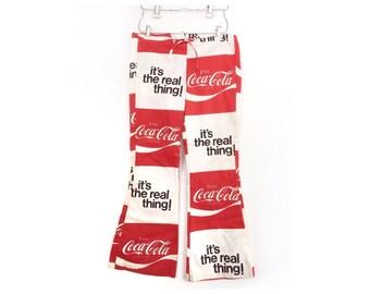 Vintage Coca Cola 70s bell bottom hip huggers jeans, juniors size 7-9 Coke mod flared pants, trousers, advertising, pop art, red white black